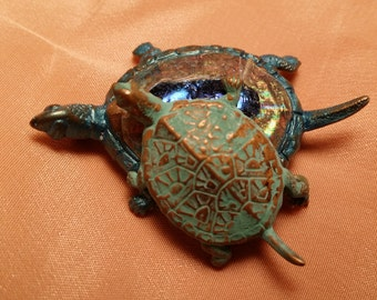 SWEET Embossed Turtle Pin VINTAGE
