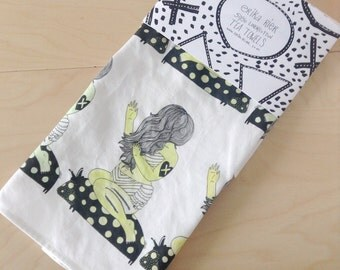 Zombie Beach Babe Linen Cotton Tea Towel - free shipping US