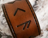 Leather RUNE Cuff . Runescript, Leather Wristband, Leather Cuff, Gifts