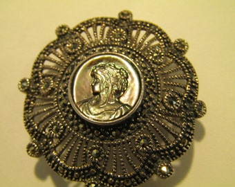 Sterling Silver Marcasite Filigree Mother of Pearl Cameo Necklace Pendant/ Brooch