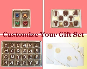 Custom Order Fee Valentines Gift Set Boyfriend Girlfriend, 4 pc Jelly Bean Cube, 8 pc Milk Chocolate Letters, 24 pc Cubic Chocolate Letters
