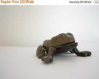 Vintage/ Brass/ Frog Key/Holder/Garden/Outside/Container/Spare Key
