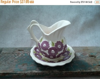 Vintage Purple Flower Daisy White Porcelain Small Miniature Pitcher With Matching Saucer