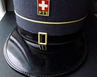 SALE Vintage Swiss PTT Cap Hat Military Army Police Rare 1970s Collectibles