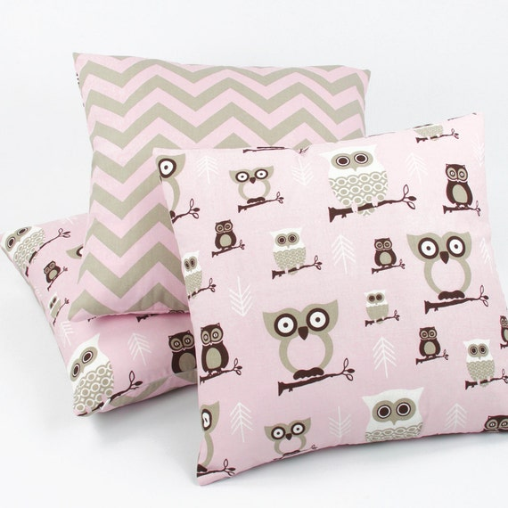 Owl Reversible Throw Pillow Cover 18x18 by ChloeandOliveDotCom
