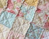Shabby Chic Rag Quilt Mini Quilt Doll Blanket Table Topper Photo Prop Seaside Rose