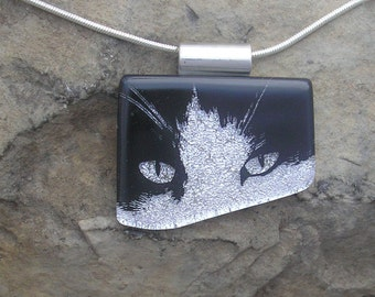 Cat Pendant Jewelry Dichroic Fused Glass Cat Necklace