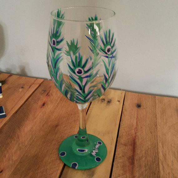 Peacock Feather Wine Glass