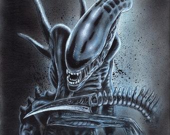 Alien Xenomorph Acrylic Painting