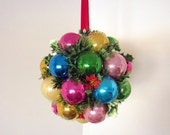 Colorful Vintage Christmas Bulb Sphere, Hanging Centerpiece, 60s 70s