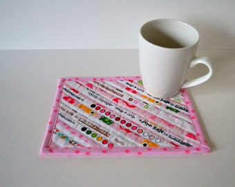 Pink Quilted Cotton Coaster, Mug Rug, nursery decor, Ann Kelle, Robert Kaufman