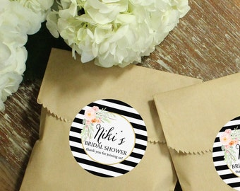 24 Paper Bridal Shower Favor Bags - Niki Label | Wedding Favor Bags | Bridal Shower Favors | Kraft Favor Bags | Personalized Favor Bags