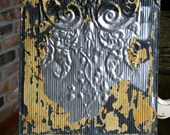 "12"" Antique Tin Ceiling Tile -- Original Chippy Silver Paint -- Mustard Accents"