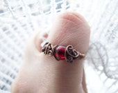 Fire Ring, Red Crackle Bohemian Ring, Rustic Fire Red Elvish Ring, Elvish Fire Ring