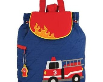 Stephen Joseph quilted fire truck toddler backpack personalized monogrammed