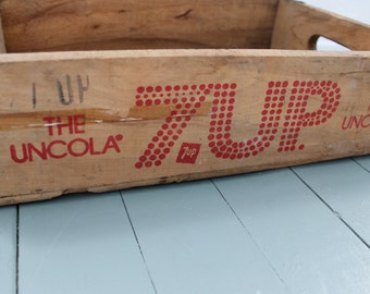 Soda Pop... 7Up Vintage Wooden Soda Crate, Home Decor, Organization