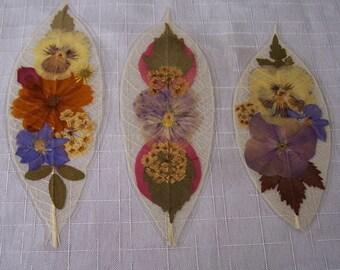 Pressed flowers on leaf skeletons book marks, set of 3. Set 042.
