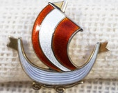 Aksel Holmsen Sterling Silver Gold Plate and Guilloche Enamel Red White Viking Ship Norway Brooch Pin