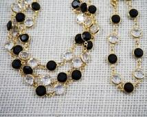 Vintage Signed Swarovski Bezel Set Black Crystal and Crystal Gold Tone Necklace and Bracelet Set