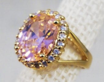 Jackie Kennedy JBK Camrose & Kross Sterling Silver with 18K Gold Plating Pink Kunzite Crystal Ring with Original Box and Papers