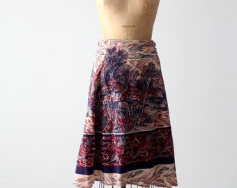 boho wrap skirt, 1970s India cotton skirt, vintage wrap around skirt
