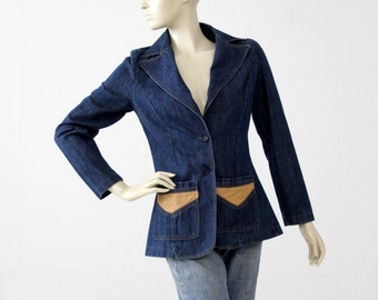 vintage 70s denim blazer, Gotcha Covered Up jacket with jute detail