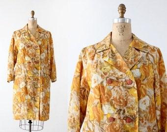 SALE 1960s floral rain coat, vintage watercolor print jacket