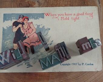 "Most Romantic Proposal Keepsake, Vintage Metal Letterpress ""Will U Marry Me?"" 1920s-40s printers blocks,  POP Question! Wonderful Keepsake"