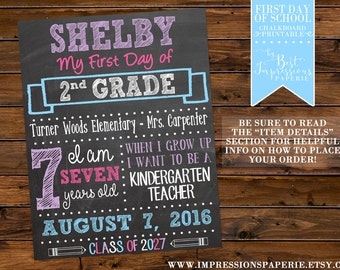PRINTABLE Personalized First Day of School Chalkboard Sign - Back to School - Pink Blue and Purple