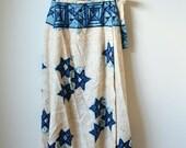 FINAL CLEARANCE Indigo Dyed Woven Cotton Wrap Skirt - Hawaiian Vintage Maxi Skirt - Tan and Blue Skirt - Womens Small Medium S M