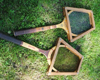 Vintage Tennis Racquets Wilson and Spalding Wooden with Frame
