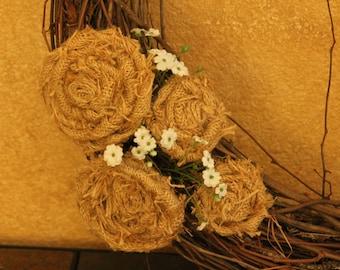 Burlap Rosette Wreath