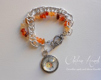 Carnelian agate chip stone and aluminium bracelet with glass charm