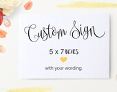 Custom Wedding Sign - Reception Decoration, Bridal Shower Signage, Party, Buffet, Welcome Table Sign - Size 5 x 7 (A7SIGN-BRV)