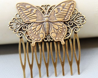 Butterfly Brass Hair Comb, Wedding Bridal Hair Comb.Flowers Collage Hair Comb, Bridal Bridesmaid Comb,Summer,Gift for her