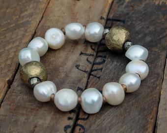 Fresh Water Pearl & African Brass Bracelet