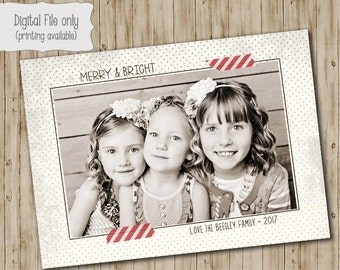 Photo Christmas Card - Vintage Christmas Card - Merry & Bright, Polka Dot, gold, cream, red, Christmas Card - Merry Christmas - Holiday Card