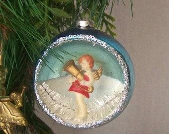 Vintage Angel Christmas Ornament Glass Ball Christmas Tree Holiday Ornament Vintage 1960s