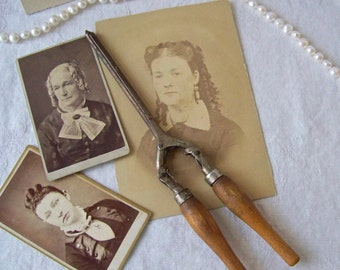 Vintage Curling Iron Victorian Dressing Table Vintage Hair Fashion Curls Hair Iron Shabby Cottage Hair Styling Curling Tongs 1920s