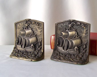Vintage Sailing Ship Bronze Bookends Clipper Ship Nautical Beach Decor 1950s