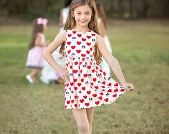 Spring & Summer Girls Boutique Dresses, Birthday Dress, Party Dress, Summer Dress, Spring Dress, Back to School Dress, Hearts(BODR272)