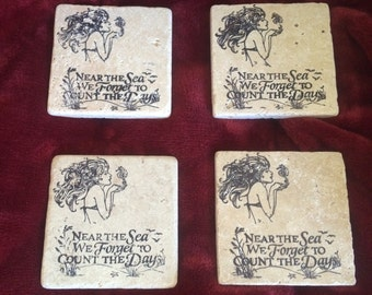 Mermaid & Seahorse stone coasters (4) pc set. Super Absorbant!!