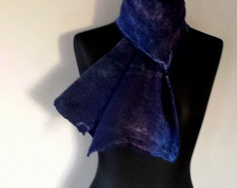 Navy felted fine merino wool scarf with sky blue, navy and purple mulberry silk surface decoration 'Gentiana'
