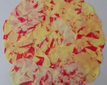 5 Inch Precut Fabric Circles, YELLOW & RED, 34 Hand Dyed Die-Cut Circles, 100% Cotton, Pre-Shrunk, Colorfast