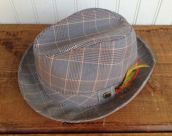 Vintage Plaid Tweed Fedora - Size Large