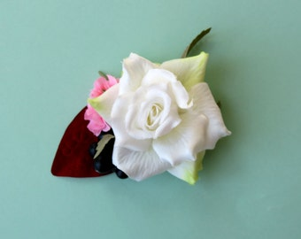 Rose Hair Clip, White Rose Barrette, Floral Hairclip, Hair Accessory, White Barrette, Chignon Clip, Rose Fascinator, White and Red Clip