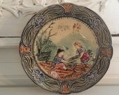 French Barbotine Majolica Antique Vintage Plate with Boy and Girl and Floral Edge Detail