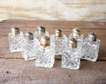 Cut Glass Salt and Pepper Shakers Set of Two Glass Shakers MARKED DOWN 30%