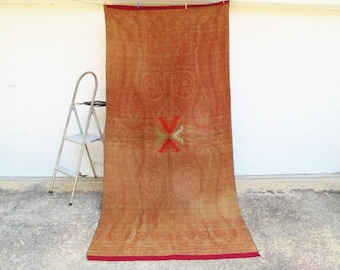 """French Paisley Shawl, Antique, Lined, Woolen, Throw, Piano Shawl-Wall Hanging-53""""x114""""inches"""