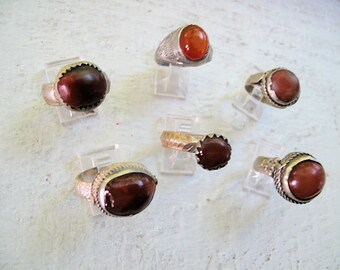 6 Carnelian Rings from Size 9 to 12, Unisex, Vintage, WHOLESALE Lot of 6